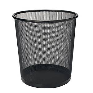 Mesh Metal Round Waste Bin Black 293 X 340mm
