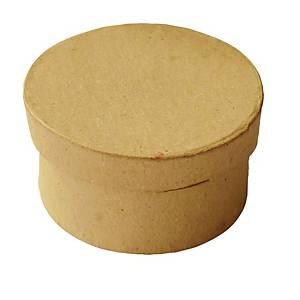 Ronde doosjes om te versieren, bruin, pak van 10 stuks