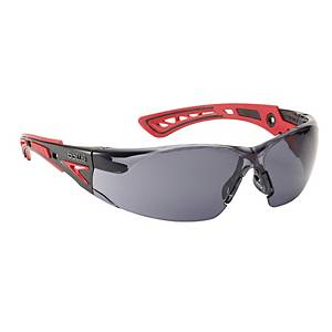 Safety glasses Bollé RUSH+ RUSHPPSF, filter type 5, black/red, grey lens