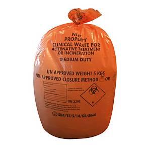 Orange 70 Litre Medium Duty Clinical Waste Sack 14 X 28 X 39 -  Roll of 25