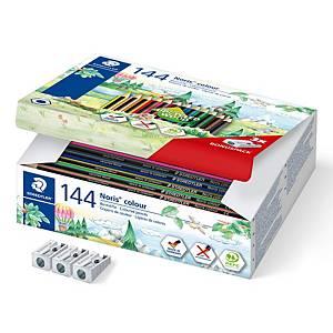 Crayons de couleur Staedtler® Noris Colour 185, 144 crayons et 3 taille-crayons