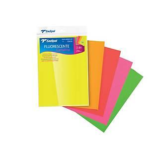Pack de 5 cartolinas fluorescemtes SADIPAL A4 225g/m2 cores variados