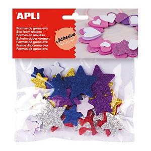 PK50 APLI FOAM GLITTER STARTS ASSTD COL.