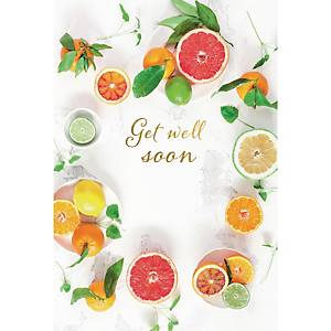 Greeting card get well soon fruits - pack of 6