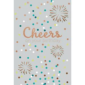 Greeting card happy birthday cheers - pack of 6