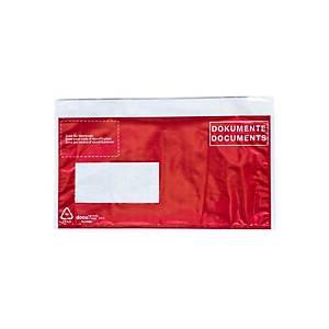 Poches pour documents d'expédition, C5/6, fenêtre à gauche, a.impression, rouge