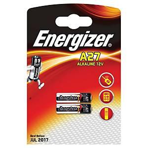 Pack 2 pilhas-botão alcalinas Energizer A27 - 12V