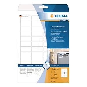 Outdoor-Folienetiketten Herma 9531, 45,7 x 21,2mm (LxB), weiß, 480 Stück