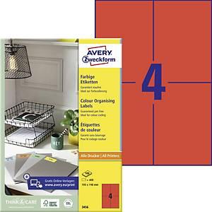 Avery 3456 piros univerzális etikettek 105 x 148 mm, 4 etikett/ív, 100 ív/csomag