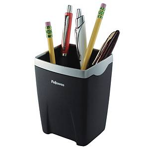 FELLOWES PEN POT BLACK/SILVER