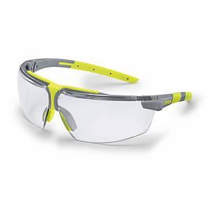 Schutzbrille Uvex 6108, mit Dioptrienkorrektur +1.0, grau/lime, Scheibe farblos
