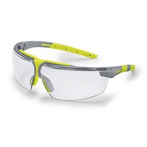 Schutzbrille Uvex 6108, mit Dioptrienkorrektur +2.0, grau/lime, Scheibe farblos