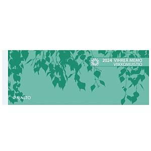 Ajasto Vihreä Memo viikkomuistio pöytäkalenteri 2021 255 x 95 mm