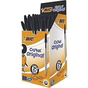 Bic Cristal Ball Point Black Pens 0.4mm Line Width - Box of 50