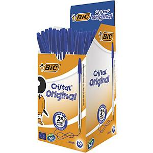 Bic Cristal Original Ballpoint Pens Medium Point (1.0 mm) - Blue, Box of 50