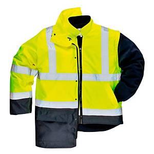 Portwest S768 hi-viz parka, fluo geel/marineblauw, maat XL, per stuk