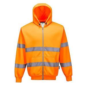 Portwest B305 hi-viz sweater met kap, fluo oranje, maat M, per stuk