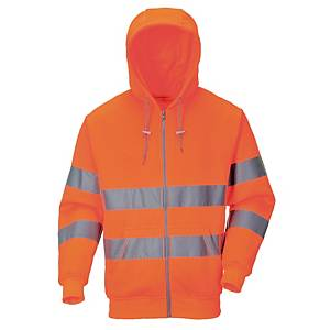 Sweat-shirt à capuche Portwest B305 hi-viz, orange fluo, taille XXL, la pièce