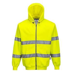 Portwest B305 hi-viz sweater met kap, fluo geel, maat S, per stuk