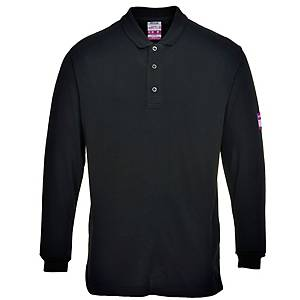 Portwest FR10 polo met lange mouwen, zwart, maat L, per stuk