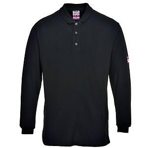 Portwest FR10 polo met lange mouwen, zwart, maat XL, per stuk
