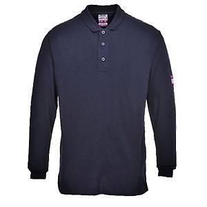 Polo manga comprida Portwest FR10 azul marinho - tamanho L