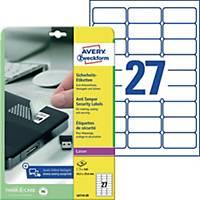 Sicherheits-Etikett. Avery Zweckform L6114-20, 63,5x29,6mm (LxB),weiß,20Bl/540St