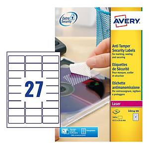 Avery L6114-20 Anti-Tamper Label Sheet Perm 27-UP 63.5x29.6mm - Pack Of 20
