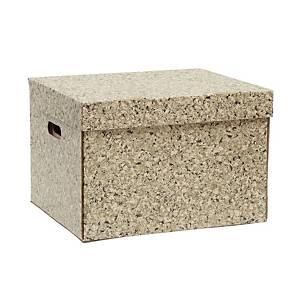 กล่องกระดาษเก็บเอกสารลายไม้ก๊อก 37X44X30 เซนติเมตร แพ็ค 2 ชิ้น