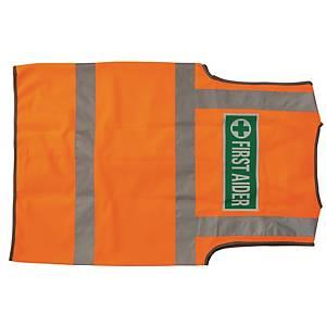 Leo High Visibility Waistcoat First Aid Logo Orange Medium