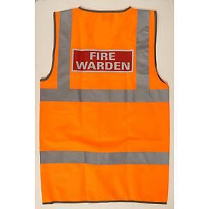 Leo High Visibility Waistcoat Fire Warden Logo Orange Small
