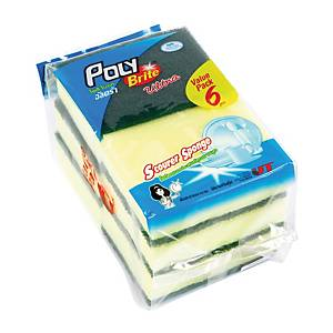 POLY-BRITE Scouring Pad with Sponge 3X4 inches - Pack of 6
