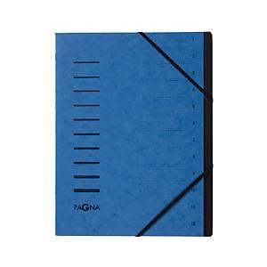 Ordnungsmappe Pagna 40059, 12 Fächer, mit Gummizug, blau