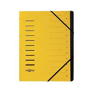 Ordnungsmappe Pagna 40059, 12 Fächer, mit Gummizug, gelb
