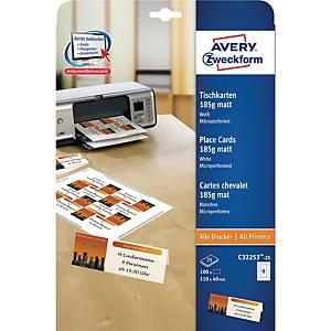 Tischkarten Avery Zweckform C32253, 110x40 mm, weiss, Packung à 100 Stück