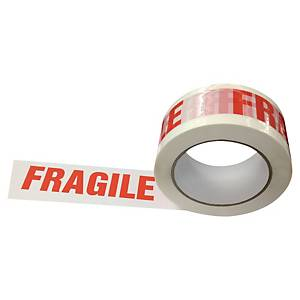 Verpackungsband Fragile, 50 mm x 100 m, weiss/rot, Packung à 6 Rollen