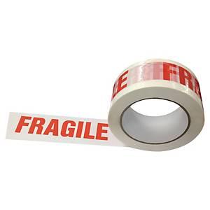 Ruban d emballage Fragile, 50 mmx100 m, blanc/rouge, paq. de 6rouleaux