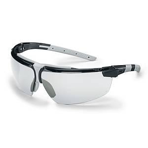 Sikkerhedsbriller Uvex i-3, klare linser, sort/lysegrå
