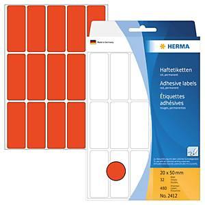 Universal-Etiketten Herma 2412, 20 x 50mm (LxB), rot, 480 Stück