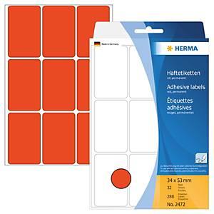 Universal-Etiketten Herma 2472, 34 x 53mm (LxB), rot, 288 Stück