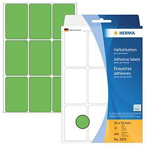 Universal-Etiketten Herma 2475, 34 x 53mm (LxB), grün, 288 Stück