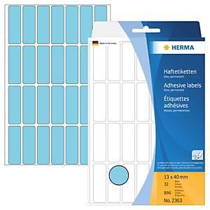 Universal-Etiketten Herma 2363, 13 x 40mm (LxB), blau, 896 Stück
