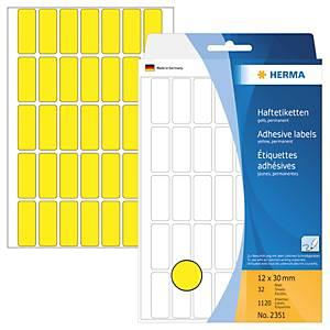 Universal-Etiketten Herma 2351, 12 x 30mm (LxB), gelb, 1120 Stück