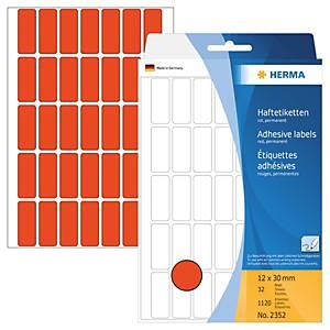 Universal-Etiketten Herma 2352, 12 x 30mm (LxB), rot, 1120 Stück