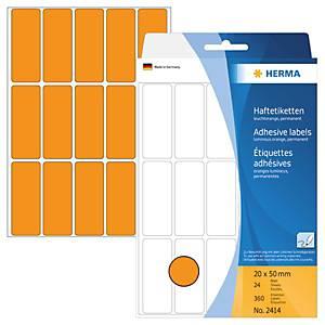 Universal-Etiketten Herma 2414, 20 x 50mm (LxB), leuchtorange, 480 Stück