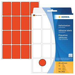 Universal-Etiketten Herma 2452, 25 x 40mm (LxB), rot, 512 Stück