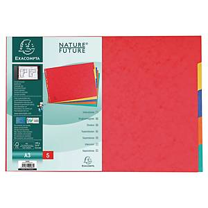 Exacompta neutrale tabbladen, A3, karton, 23-gaats, per 5 tabs