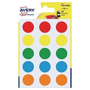Étiquettes colorées rondes Avery PSA19MX, 19 mm, assorties, les 90 étiquettes