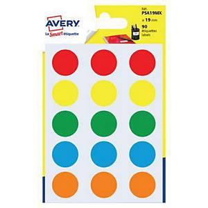 Kolorowe etykiety do zaznaczania AVERY ZWECKFORM kółka 19 mm, mix kolorów