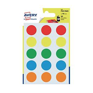 Avery Dot Label 19mm Assorted Colour - Pack of 90